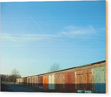 Wood Print featuring the photograph Depuis Les Garages Colores by Marc Philippe Joly