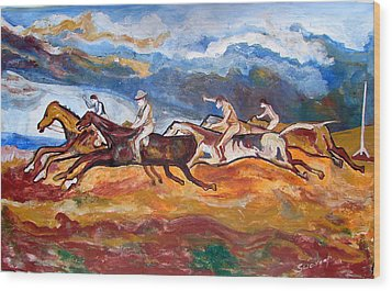 Wood Print featuring the painting Derby Race Horses by Anand Swaroop Manchiraju