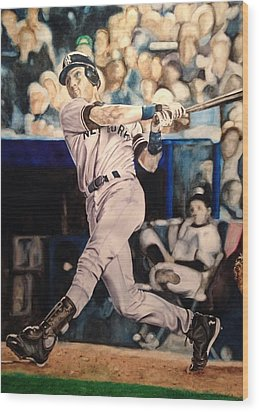 Wood Print featuring the painting Derek Jeter by Lance Gebhardt