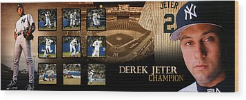 Derek Jeter Panoramic Art Wood Print by Retro Images Archive