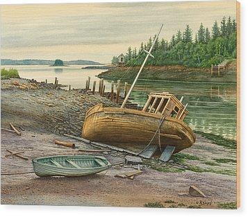 Derelict Boat Wood Print by Paul Krapf