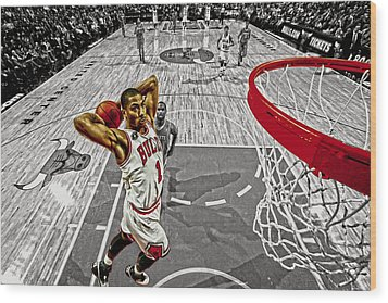 Derrick Rose Took Flight Wood Print
