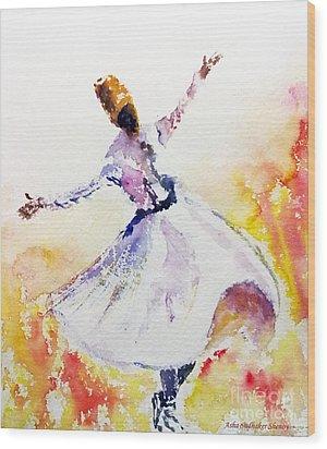 Sufi  Or Dervish Dancer Wood Print