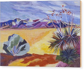 Desert And Mountains Wood Print by Betty Pieper