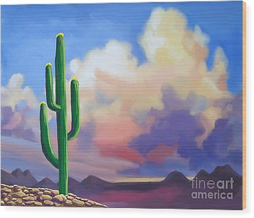 Wood Print featuring the painting Desert Cactus At Sunset by Tim Gilliland