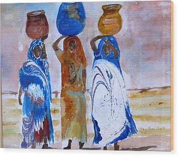 Wood Print featuring the painting Desert Diva's 3 by MaryAnne Ardito
