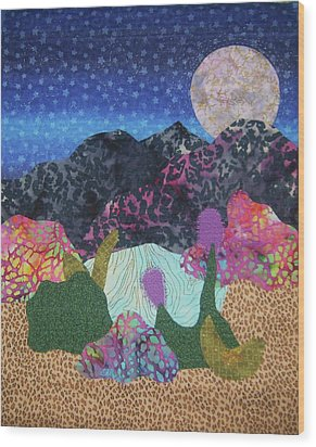 Wood Print featuring the tapestry - textile Desert Dreaming by Ellen Levinson