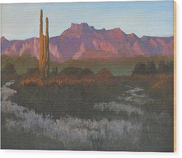 Desert Sunset Glow Wood Print
