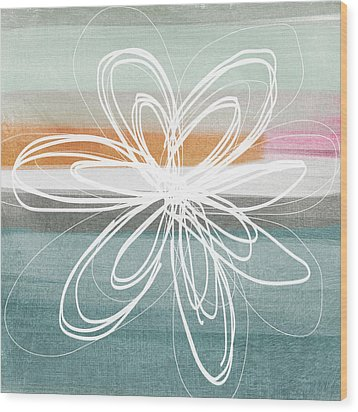 Desert Flower- Contemporary Abstract Flower Painting Wood Print by Linda Woods