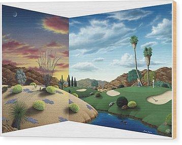 Desert Golf Wood Print by Snake Jagger