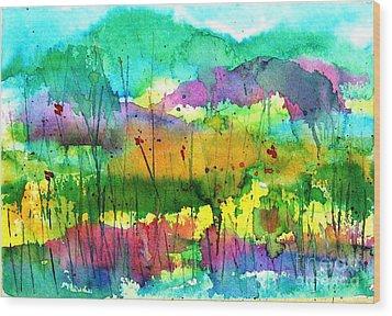 Desert In The Spring Wood Print
