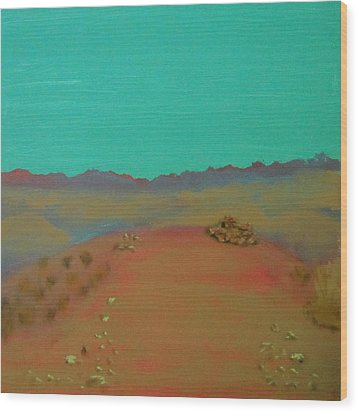 Wood Print featuring the painting Desert Overlook by Keith Thue