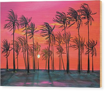 Desert Palm Trees At Sunset Wood Print