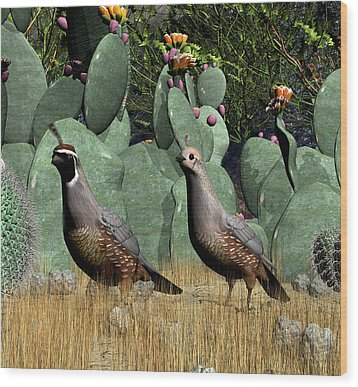 Desert Quail Wood Print by Walter Colvin