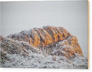 Desert Snow At Sunrise Wood Print