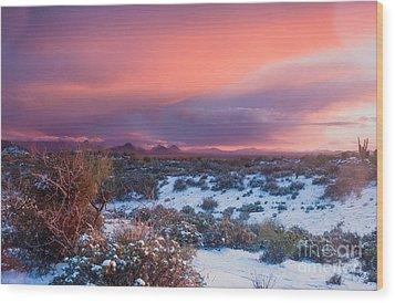 Desert Snow Wood Print by Tamara Becker