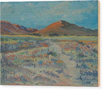 Desert Spring Flowers With Orange Hill Wood Print