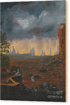 Wood Print featuring the painting Desert Storm by Myrna Walsh