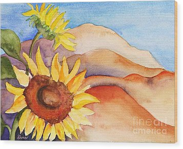 Desert Sunflower Wood Print by Shirin Shahram Badie