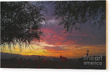 Desert Sunrise Wood Print by Chris Tarpening