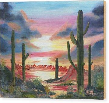 Desert Sunrise Wood Print by Roy Gould
