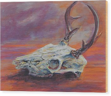 Desert Sunset Deer Wood Print