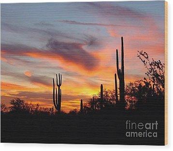 Desert Sunset Wood Print by Joseph Baril