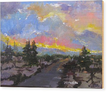 Desert Sunset Wood Print by MaryAnne Ardito