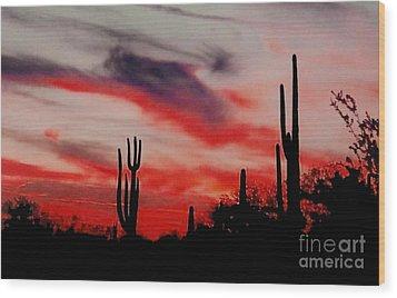 Desert Sunset Northern Lights Version 3 Wood Print