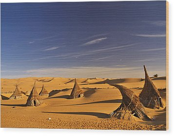 Desert Village Wood Print