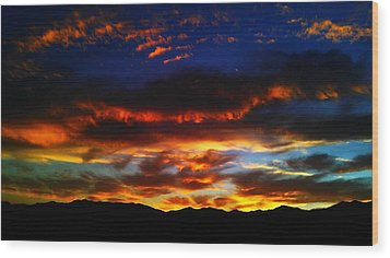Desert Winter Sunset  Wood Print by Chris Tarpening