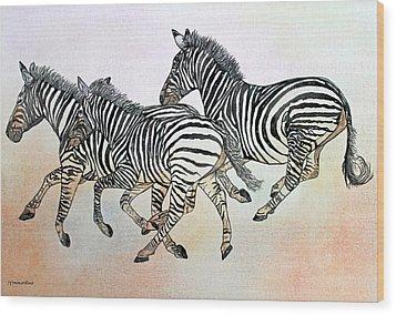 Desert Zebras Wood Print