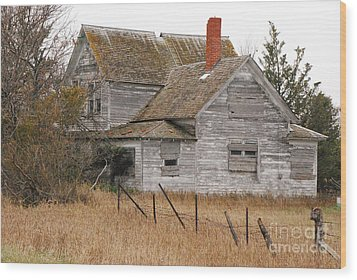 Deserted House Wood Print by Mary Carol Story