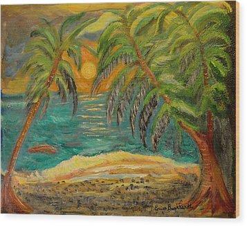 Deserted Tropical Sunset Wood Print by Louise Burkhardt