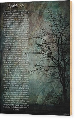 Desiderata Of Happiness - Vintage Art By Jordan Blackstone Wood Print by Jordan Blackstone