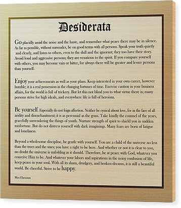 Desiderata Old English Square Wood Print by Christina Rollo