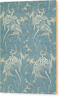 Design In Turquoise Wood Print by William Morris