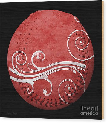 Designer Red Baseball Square Wood Print by Andee Design