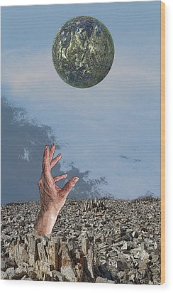 Wood Print featuring the digital art Desiring Another World by Angel Jesus De la Fuente