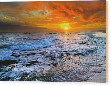Wood Print featuring the photograph Destin Beach Florida-dark Red Sunset Seascape Photography by eSzra