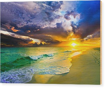 Wood Print featuring the photograph Destin Florida-purple Sunset Over The Beach Art Prints by eSzra