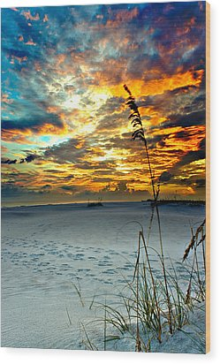 Wood Print featuring the photograph Destin Florida White Sand Landscape-fiery Red Sky Sunset by Eszra Tanner