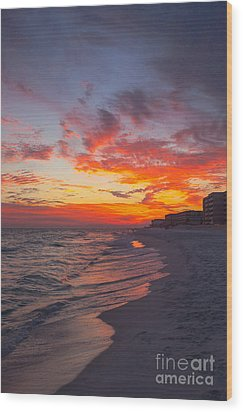 Destin Sunset Wood Print by Kay Pickens