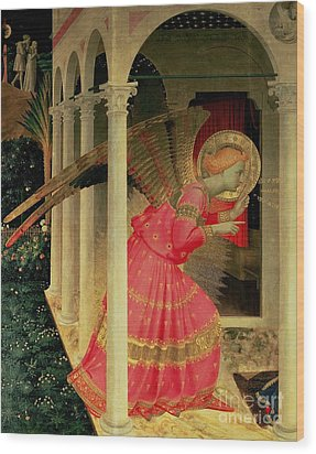 Detail From The Annunciation Showing The Angel Gabriel Wood Print by Fra Angelico