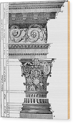 Detail Of A Corinthian Column And Frieze I Wood Print by Suzanne Powers