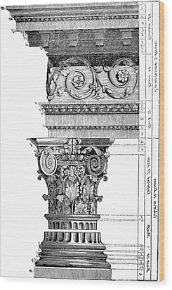 Detail Of A Corinthian Column And Frieze II Wood Print by Suzanne Powers