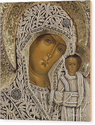 Detail Of An Icon Showing The Virgin Of Kazan By Yegor Petrov Wood Print by Russian School