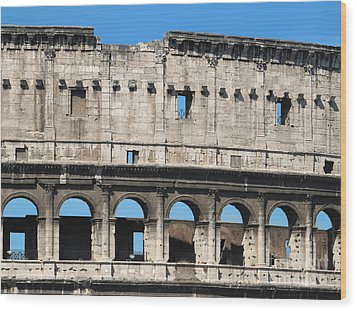 Detail Of Colosseum Facade Wood Print by Kiril Stanchev