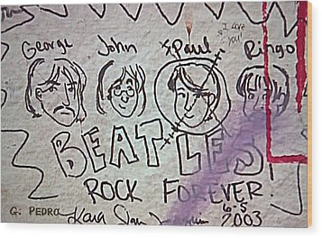 Detail Of Graffiti On Abbey Road Sign Wood Print by George Pedro