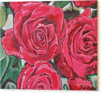 Wood Print featuring the painting Detail Of The Delight Of Grandma's Roses Painting by Kimberlee Baxter